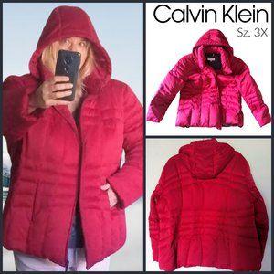 Calvin Klein Down Puffer Jacket - Red - Sz 3X